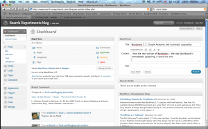 The WordPress 2.7 dashboard in action